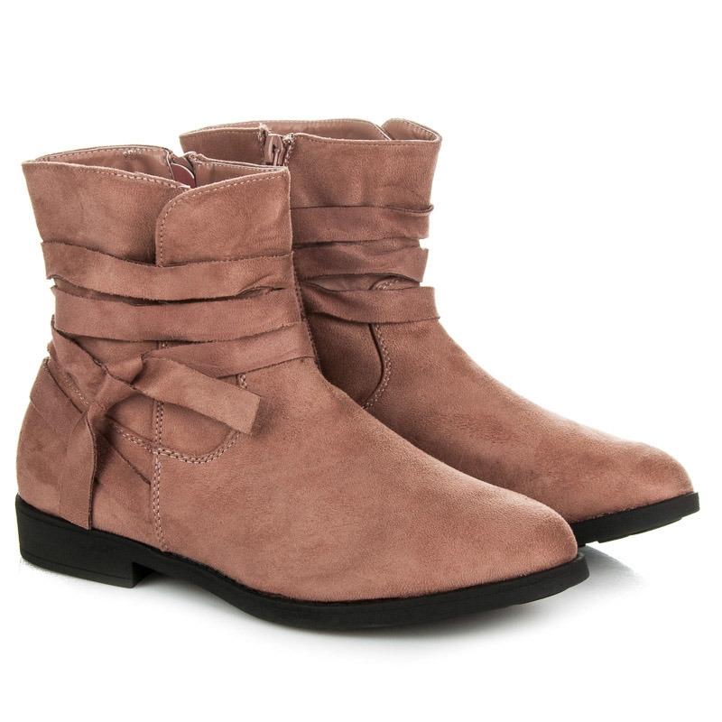 2d0bd9f5376c9 Dámske ružové semišové členkové topánky - PE136P | dawien.sk