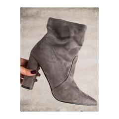 Dámske šedé semišové členkové topánky - SY46G