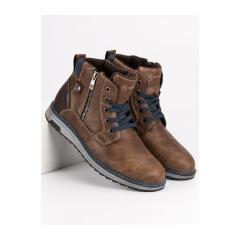 Pánske hnedé členkové topánky MCKEYLOR - HAN19-14204BR