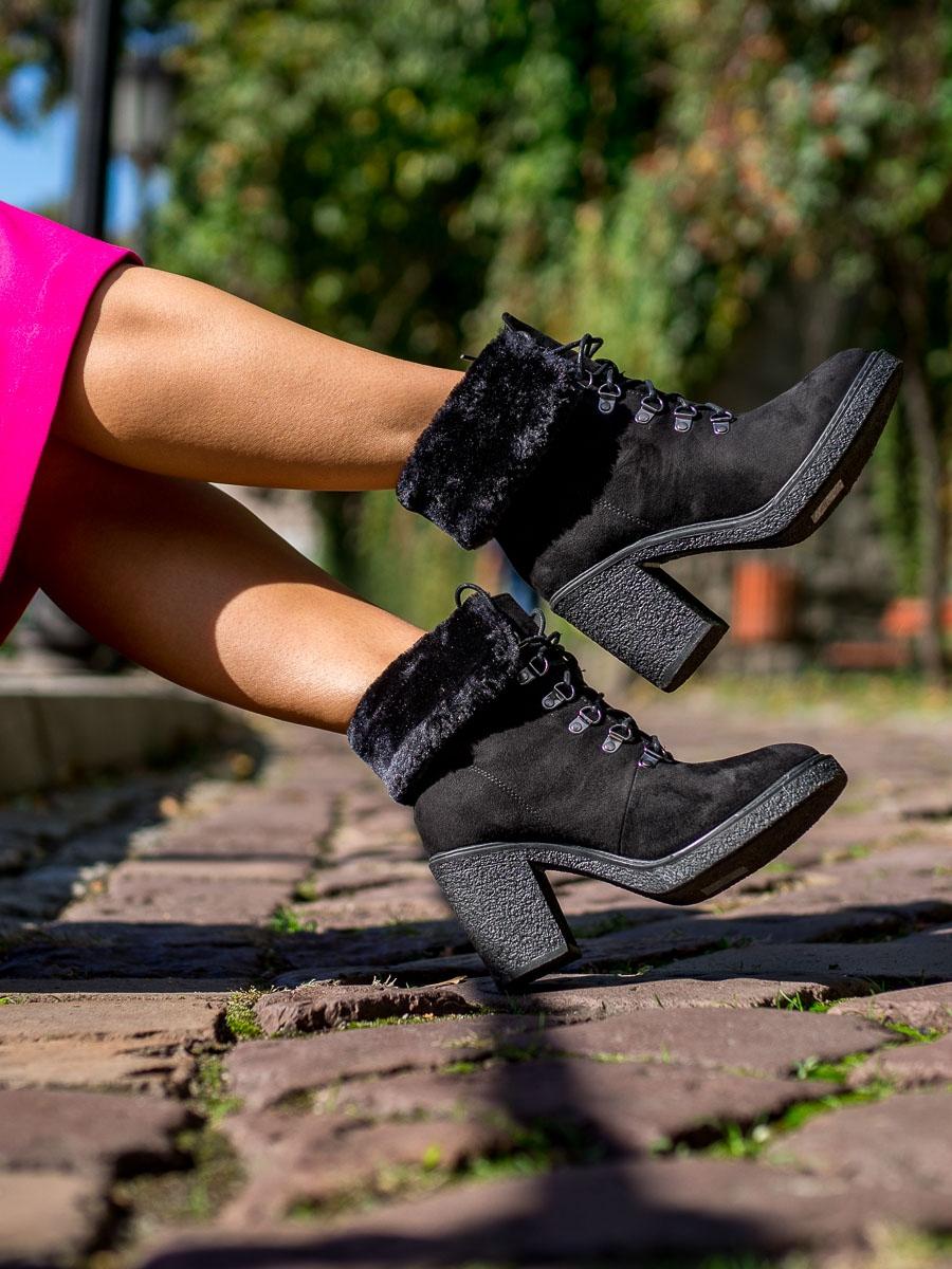 9f1843e266 Dámske čierne členkové topánky s viazaním - HJ88-50B