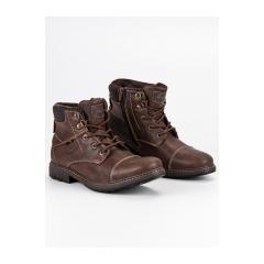 Pánske hnedé členkové topánky  - 709153BR