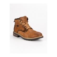 Pánske hnedé členkové topánky  - SH19-1924BR
