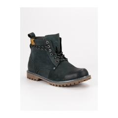 Pánske modré kožené členkové topánky  - SH19-1920N