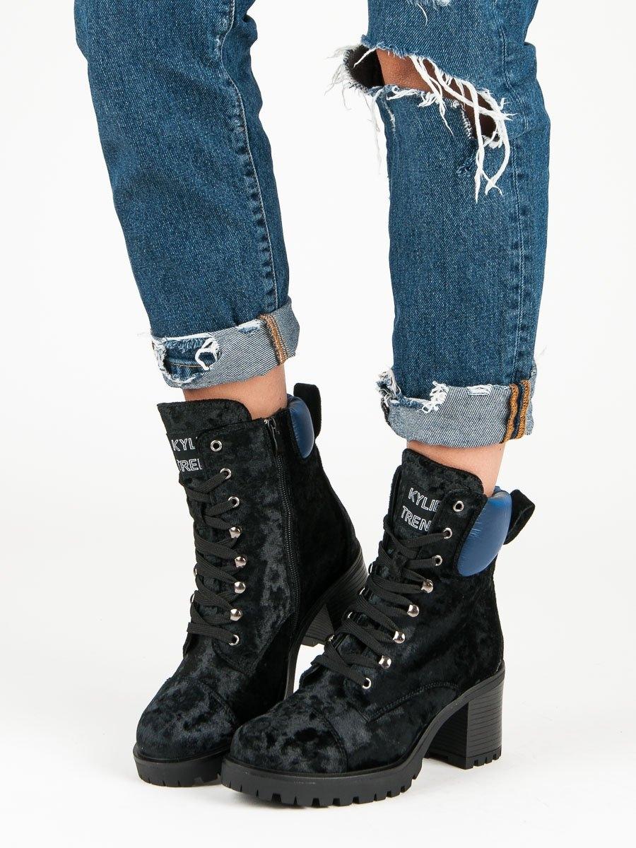 7526610de42c Dámske čierne velúrové členkové topánky - K1835203NE