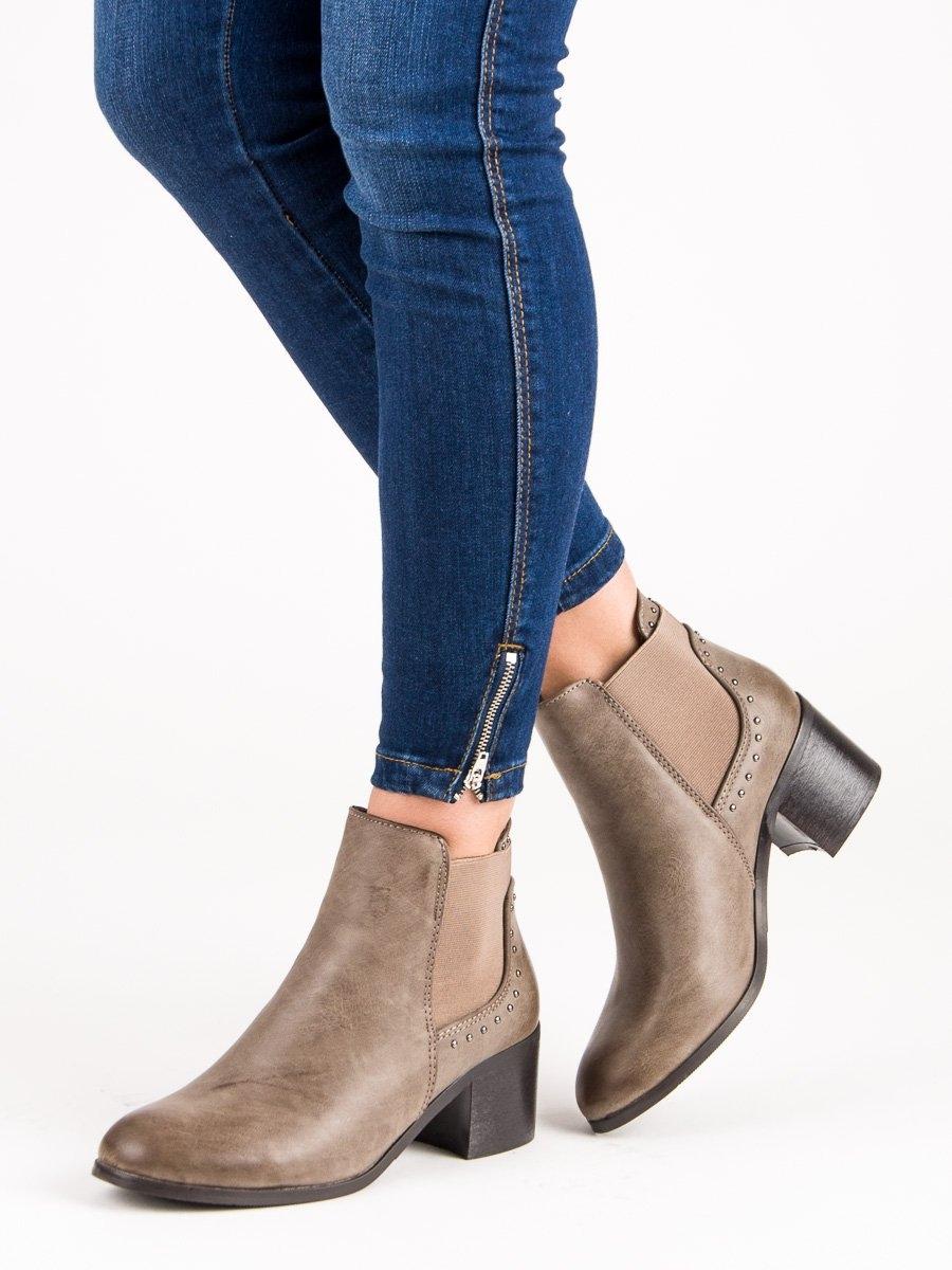 Dámske khaki členkové topánky - L73811KH  db300ac4035