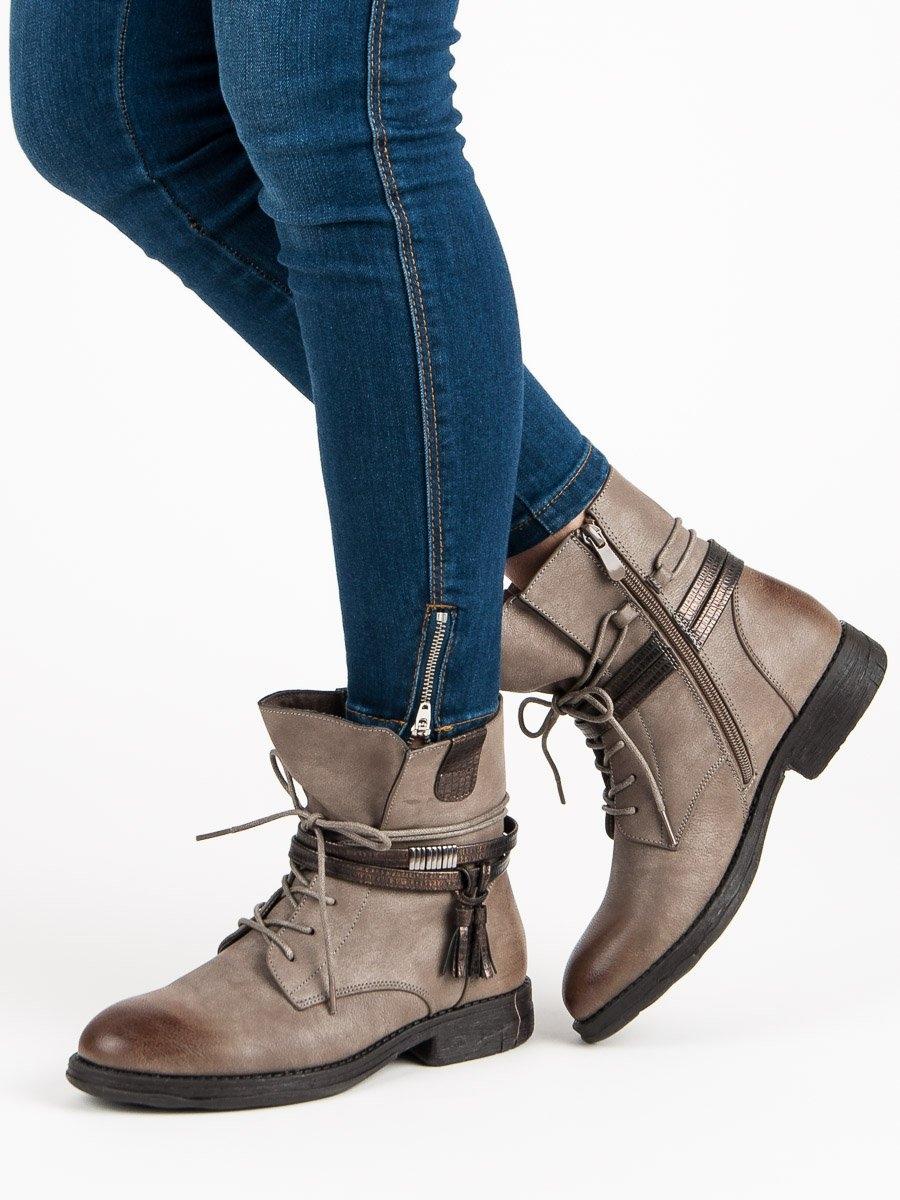 Dámske hnedé členkové topánky - BH52KH  dfac6eafeaf