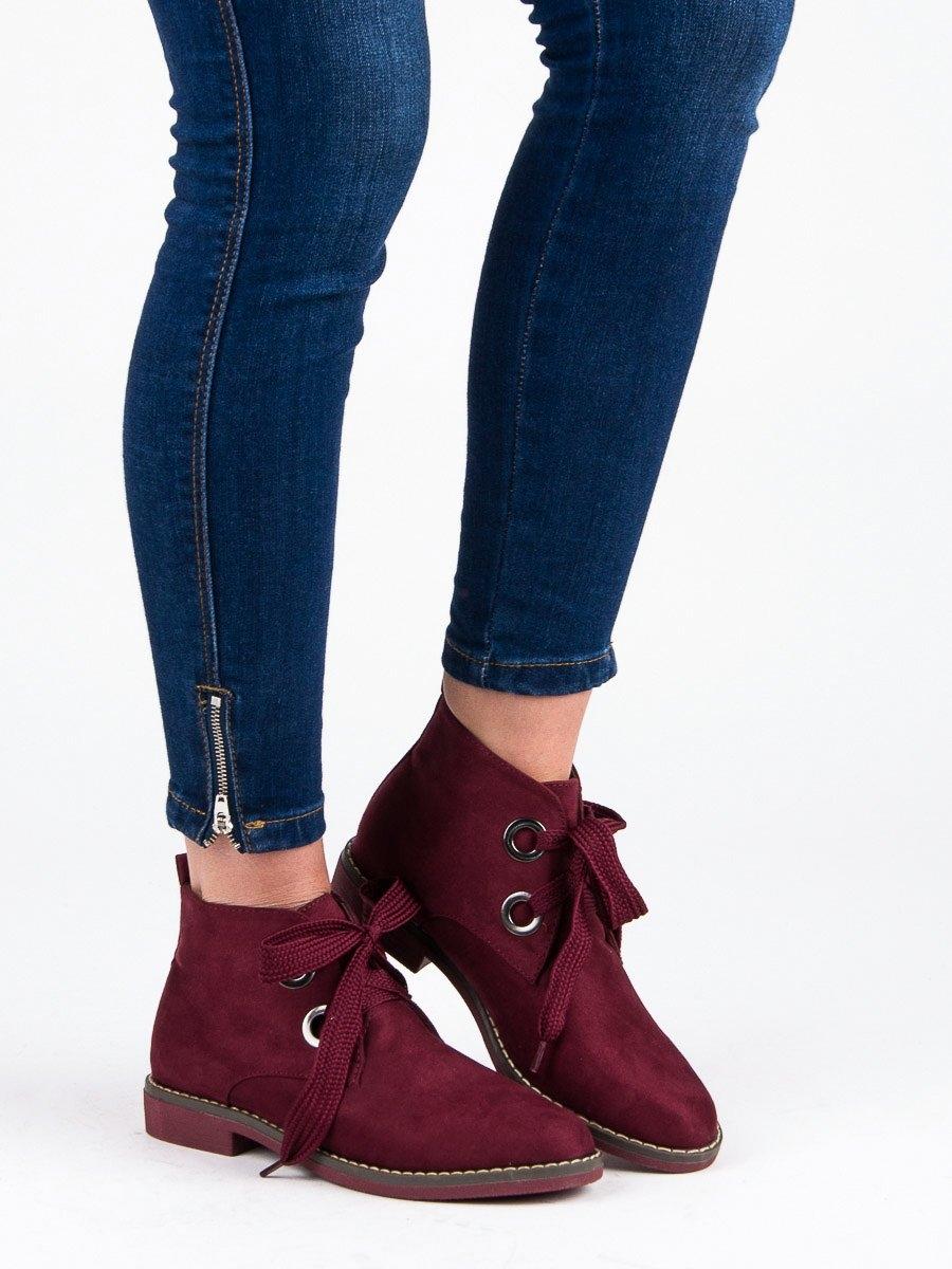 e35f6068783d1 Dámske červené semišové členkové topánky - 1399R | dawien.sk