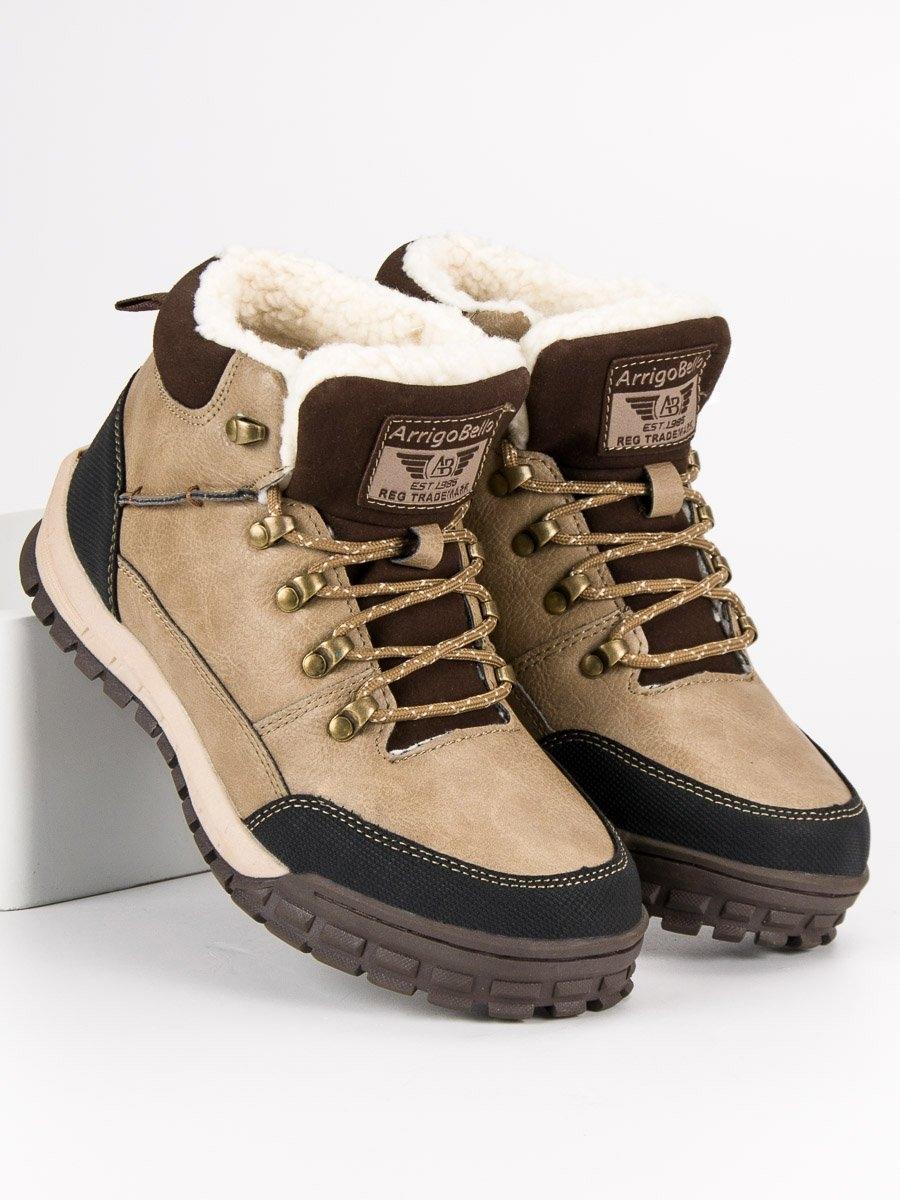 5bb1925a2785 Pánske hnedé zateplené členkové topánky - AM8438KH