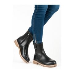 Dámske čierne členkové topánky  - 0-253B