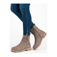 Dámske hnedé členkové topánky  - 0-253KH
