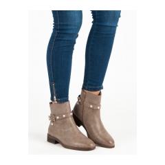 Dámske hnedé členkové topánky  - 8996KH