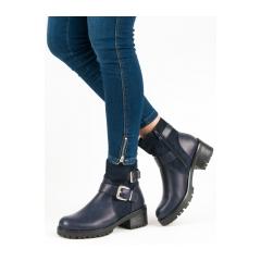 Dámske modré členkové topánky  - C-7177BL