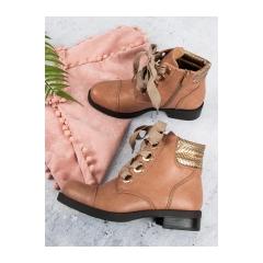 Dámske ružové členkové topánky na plochom podpätku  - HQ956P