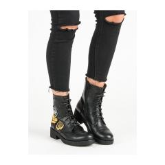 Dámske čierne členkové topánky  - ML12B
