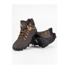 Pánske hnedé členkové topánky   - REF19-9750BR