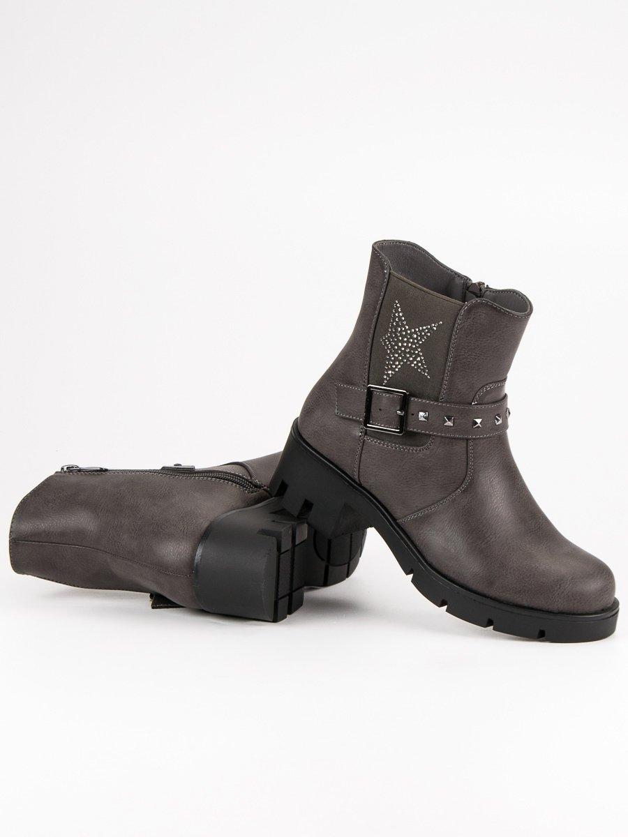 6a03c57a016f Dámske šedé členkové topánky na platforme - 6316-2G