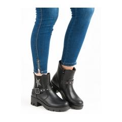 Dámske čierne členkové topánky  - 6316-1B