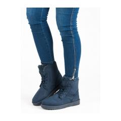 Dámske modré semišové členkové topánky  - 2017-09BL