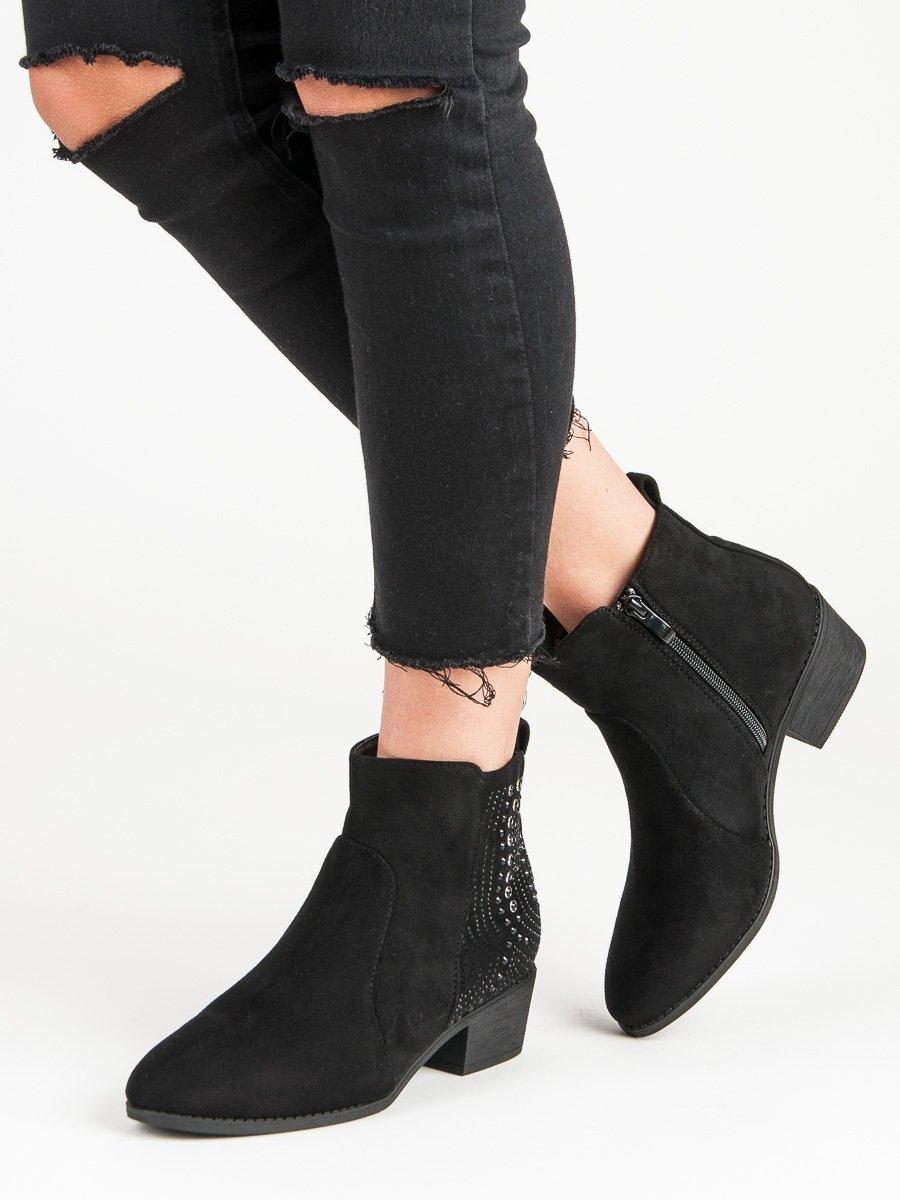 4ee483f0fc Dámske čierne členkové topánky s kamienkami - MB188-269B