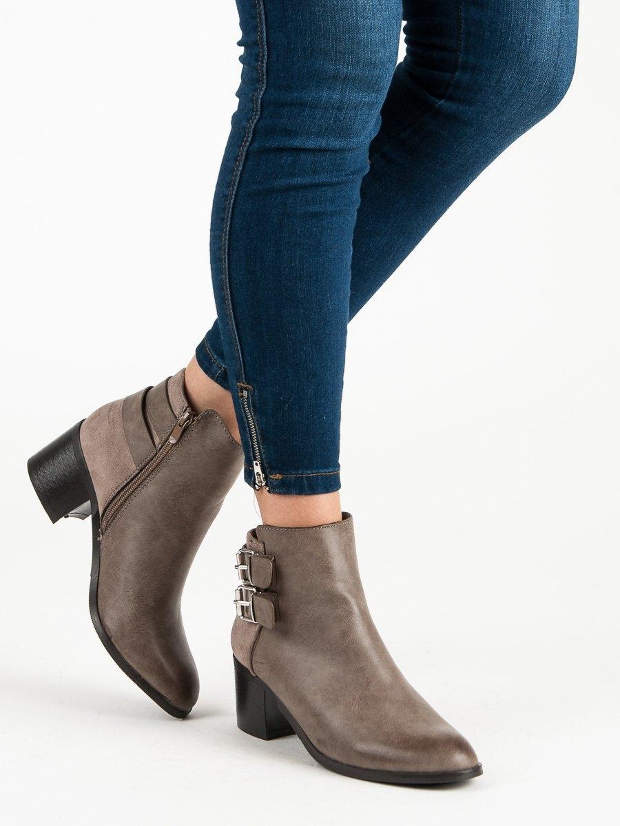 Dámske hnedé členkové topánky - 5752KH  3aba543a6c0