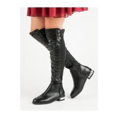 Dámske čierne čižmy nad kolená  - 0-228B
