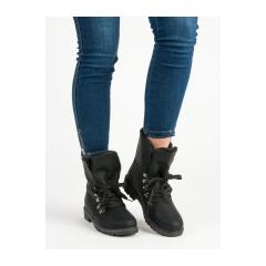 Dámske čierne členkové topánky  - 1119-PA-B