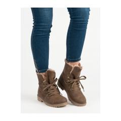 Dámske hnedé členkové topánky   - 1119-PA-KH