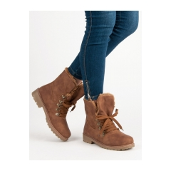 Dámske hnedé členkové topánky   - 1119-PA-C