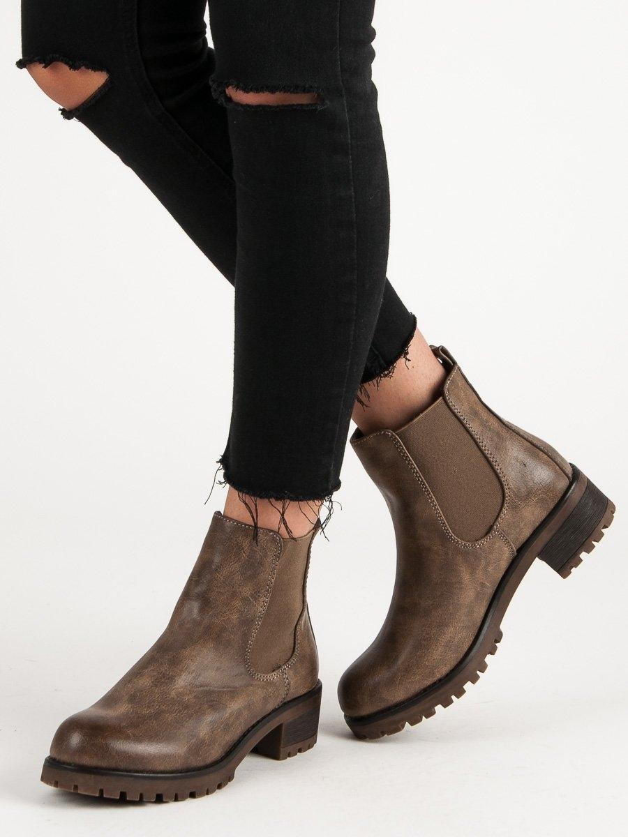 Dámske khaki členkové topánky - 945-PA-KH  73a162a00a9