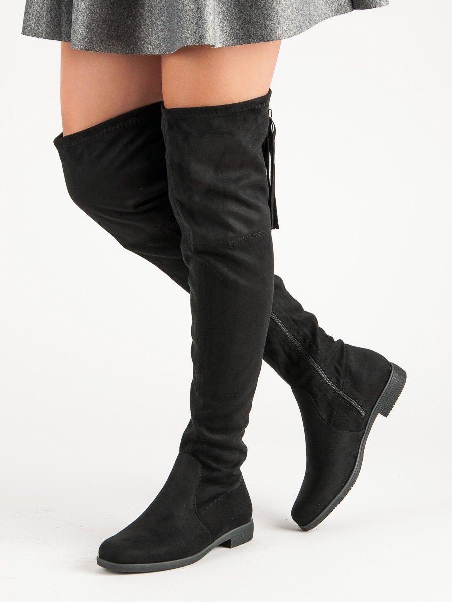 df07e410ee57 Dámske čierne čižmy nad kolená - 6756-PG-B