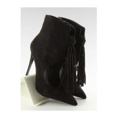 Dámske čierne členkové topánky so strapcami - 5035
