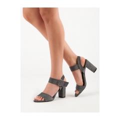 Dámske šedé sandále na stĺpcovom podpätku  - LE19-2883G