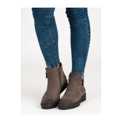 7e8fae32f Dámske hnedé členkové topánky na zips - 1270/5DK.BR