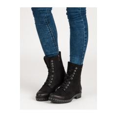 Dámske čierne kožené workery - 1262/5B
