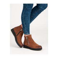 Dámske hnedé topánky na zips - 1270/5BR