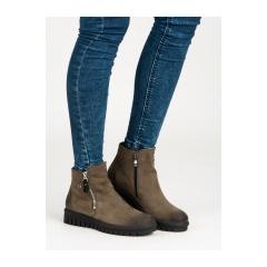 Dámske zelené topánky na zips - 1270/5GR