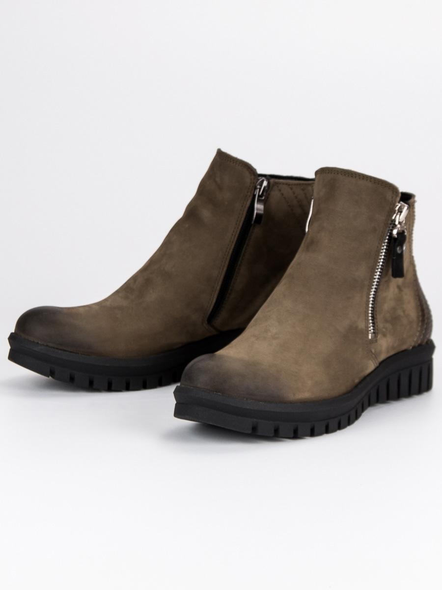 Dámske zelené topánky na zips - 1270 5GR  42bf10beee8