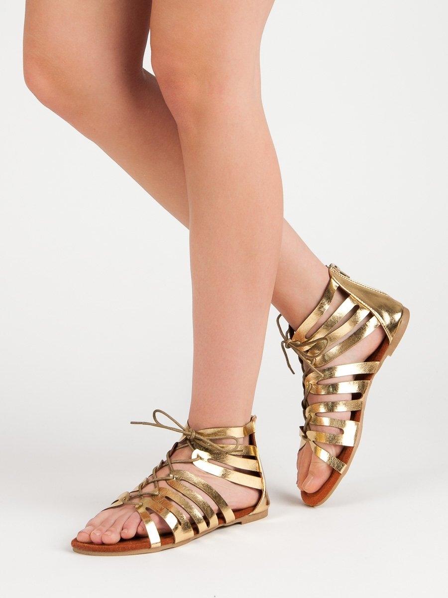 d56041247e68 Dámske zlaté ploché sandále - 111W6SD4218GO
