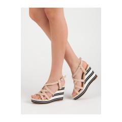 a851876ecfa1 Dámske béžové sandále na kline - 8809BE