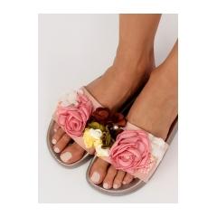54cd7e2fd978 Dámske ružové šľapky s kvetmi - BG19