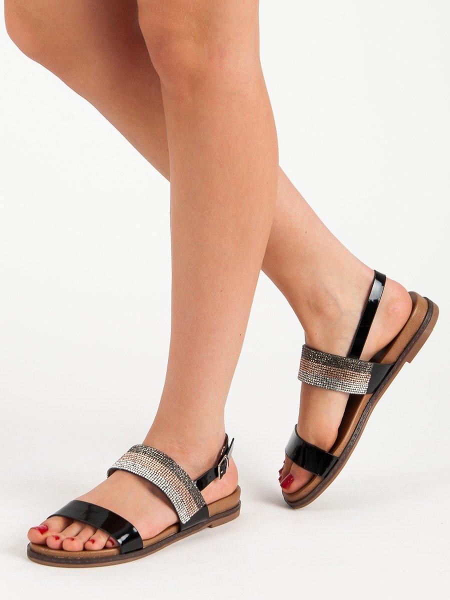 63b167af91d9 Dámske čierne sandále s kamienkami - RIC19-19101B