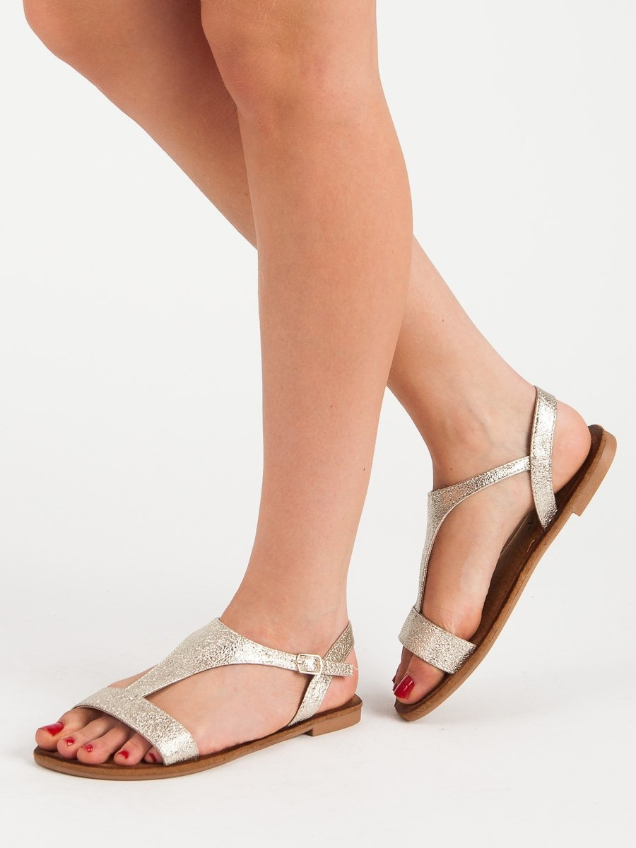 99df43233ffa Dámske zlaté ploché sandále - RIC19-19104GO