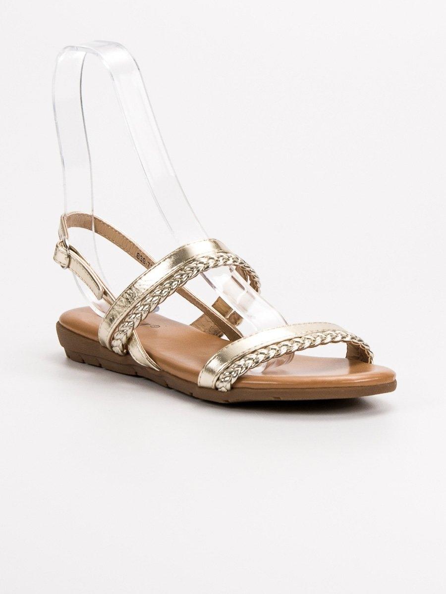fe80280e4d54 Dámske zlaté ploché sandále - 839-737GO