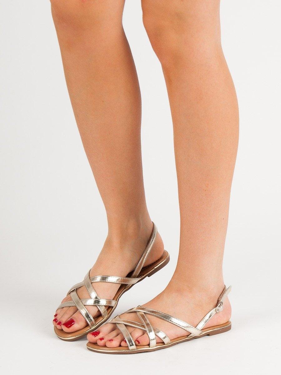 22cec7e4dd52 Dámske zlaté ploché sandále - 839-715GO