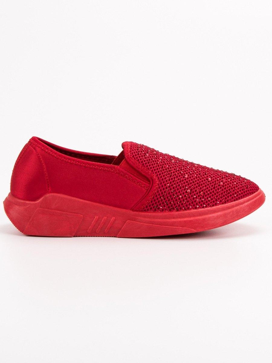 ea028ef83e27 Dámske červené tenisky s kamienkami - L-172R