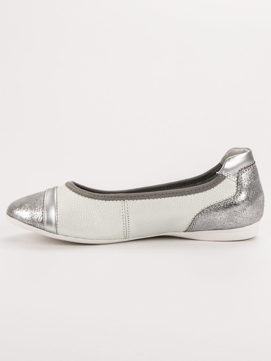 19355128311b Dámske biele kožené balerínky - DP704 19W