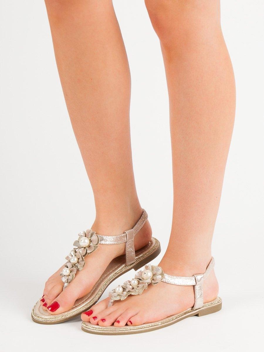 542d33dba15a Dámske zlaté ploché sandále - ALS022GO