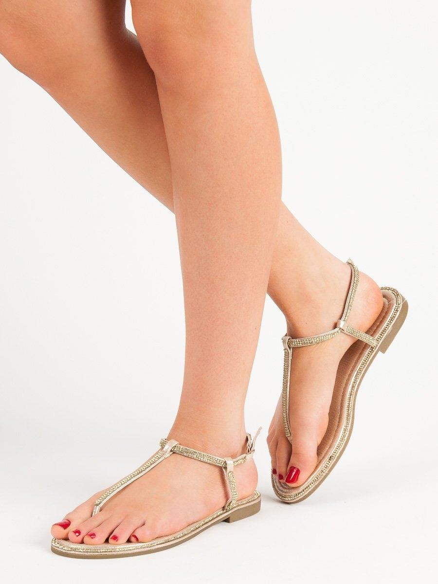 20db047bf0c0 Dámske zlaté ploché sandále - ALS015GO