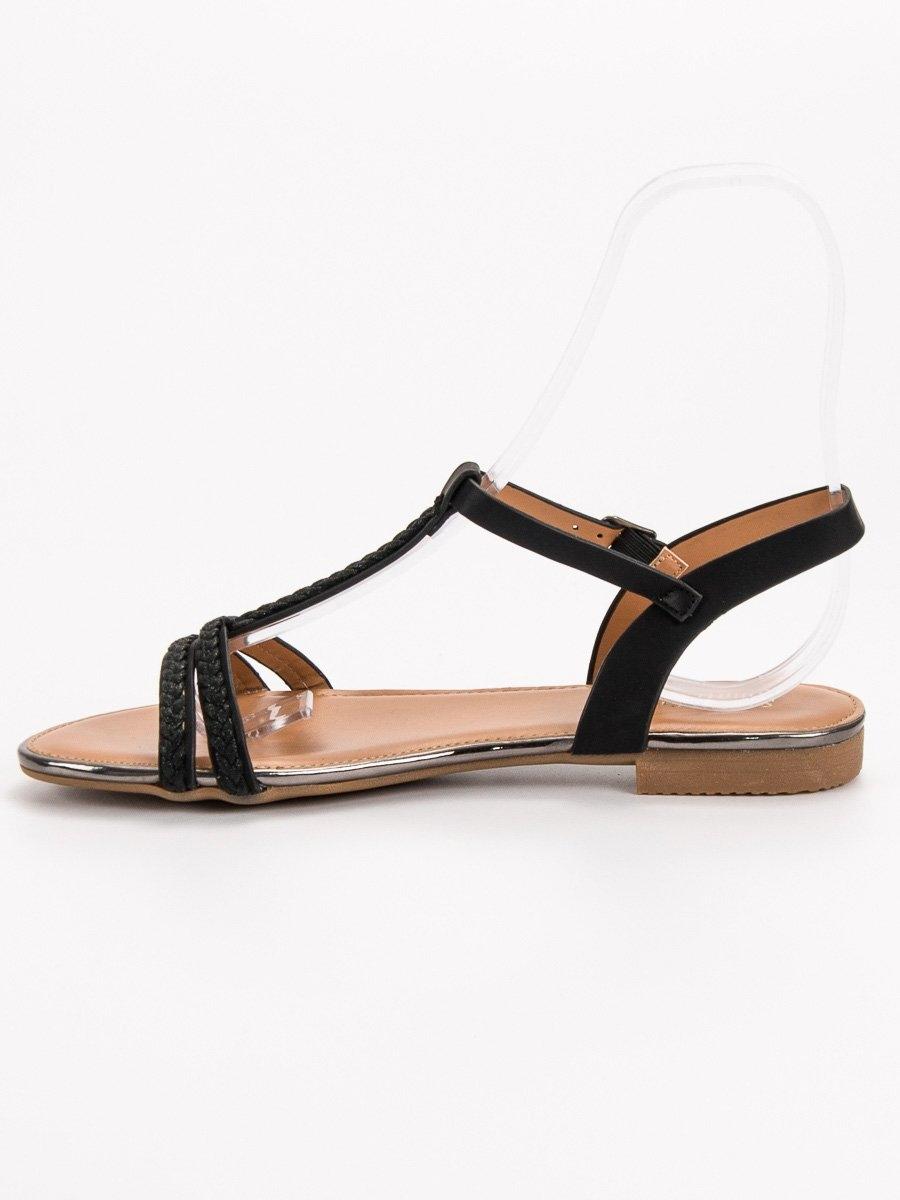 941224394650 Dámske čierne ploché sandále - FE05B