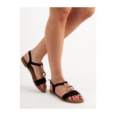 b1c4fe94c93b Dámske čierne ploché sandále - WL024B